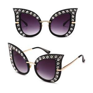 Accessories - Rinestone Large Raindrop Sunglasses